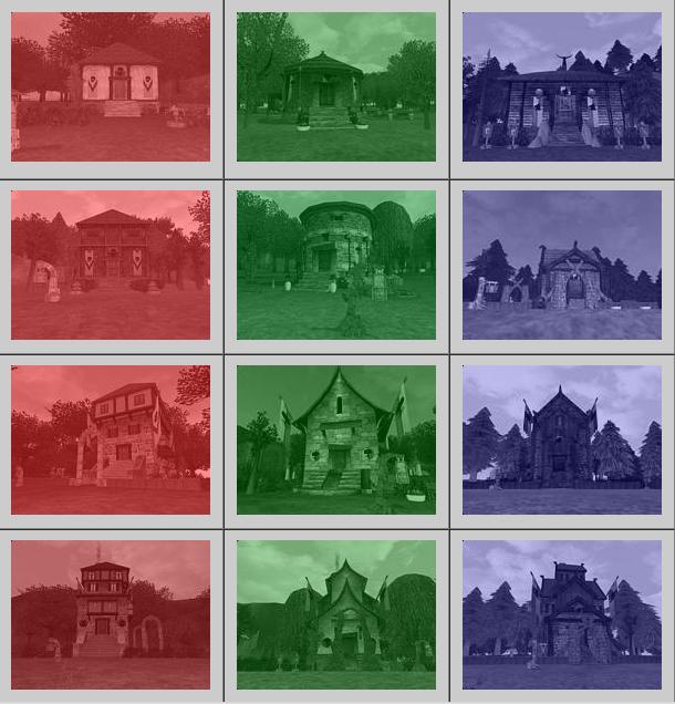 Skins des maisons des 3 royaumes, du chalet (↑) au château (↓)