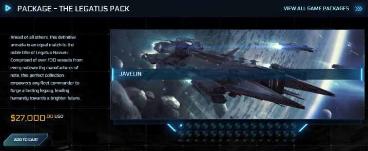 Capture d'écran d'un pack à 27.000 dollar américain pour un vaisseau Star Citizen