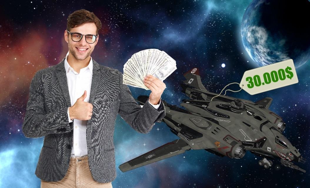Homme avec une liasse de billet ayant acheté un vaisseau sur le jeu Star Citizen